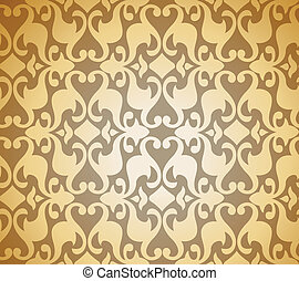 Seamless Golden Damask background. Vector illustration...