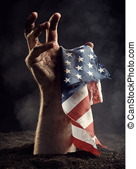American flag in male hand