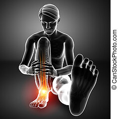 Male foot with ankle pain - 3d Illustration of Male foot...