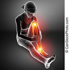 Pain in leg - 3d illustration of Pain in leg