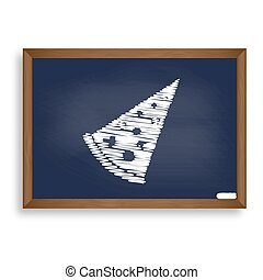Pizza simple sign. White chalk icon on blue school board...
