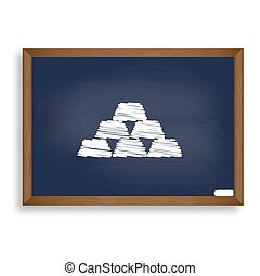 Gold simple sign. White chalk icon on blue school board with...
