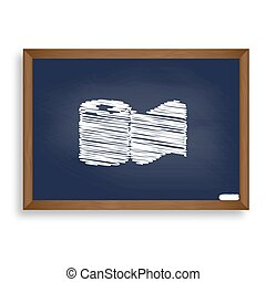 Toilet Paper sign. White chalk icon on blue school board...