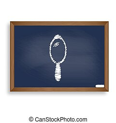 Hand Mirror sign. White chalk icon on blue school board with...