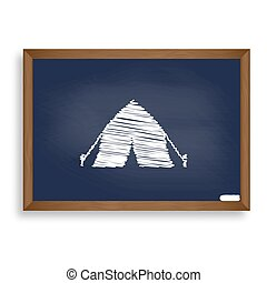 Tourist tent sign. White chalk icon on blue school board...