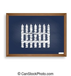Fence simple sign. White chalk icon on blue school board...
