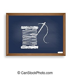 Thread with needle sign illustration. White chalk icon on blue s