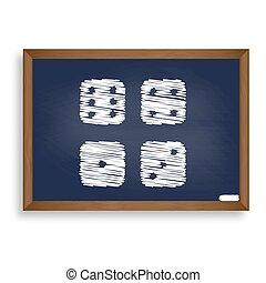 Devils bones, Ivories sign. White chalk icon on blue school boar