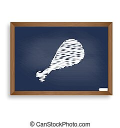 Chicken leg sign. White chalk icon on blue school board with...