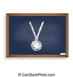 Medal simple sign. White chalk icon on blue school board...