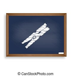 Clothes peg sign. White chalk icon on blue school board with...