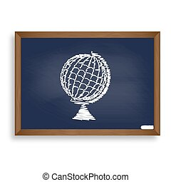 Earth Globe sign. White chalk icon on blue school board with...