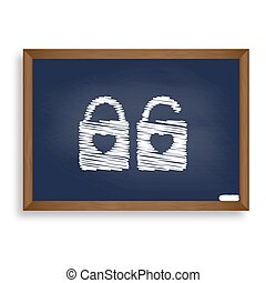 lock sign with heart shape. A simple silhouette of the lock....