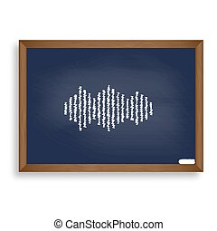 Sound waves icon. White chalk icon on blue school board with...