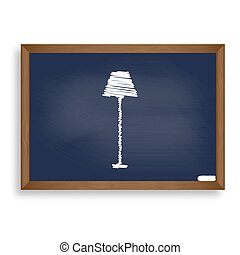 Lamp simple sign. White chalk icon on blue school board with...