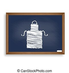 Apron simple sign. White chalk icon on blue school board...