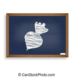 Beet simple sign. White chalk icon on blue school board with...