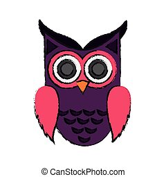 owl cartoon icon over white background. colorful design....