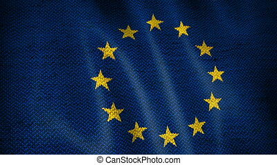 Burlap European Union Flag. - Beautiful animation of...