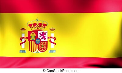 Spain Flag. Background Seamless Looping Animation.