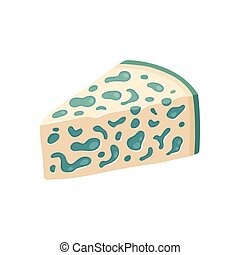 Blue cheese illustration - Blue cheese wedge with mold....