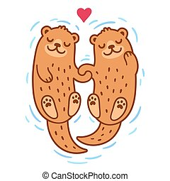 Otter couple holding hands