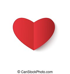 Red paper heart. - Red paper heart icon. Vector. Greeting...