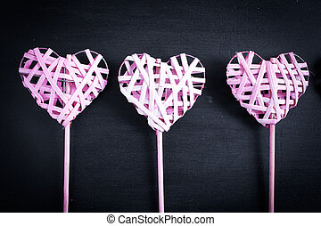 Valentines Day - Pink hearts on black background, Happy...