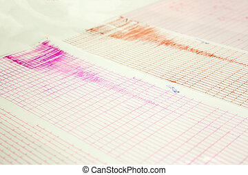 Earthquake wave on a graph paper - Seismological device for...