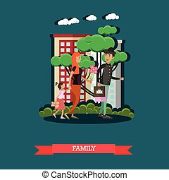Vector illustration of father, mother with their daughter, flat style.