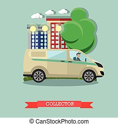 Vector illustration of collector and bank car, flat style...