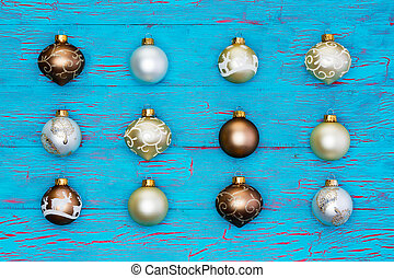 Neat array of metallic Christmas tree ornaments
