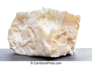 Close up on full fat feta cheese - Side close up view on...