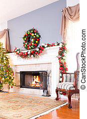 Festive Christmas fireplace with wreath