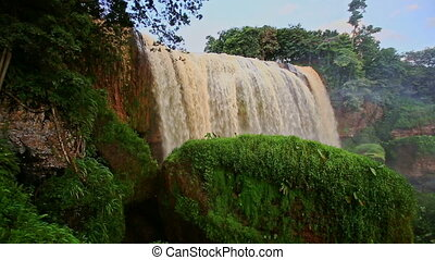 View of Waterfall Elephant with Moss-grown Rock in Vietnam -...