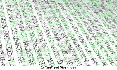 Data stream green numbers white screen