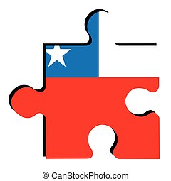 Isolated Chilean flag - Isolated piece of puzzle with the...