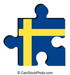 Isolated Swedish flag - Isolated piece of puzzle with the...
