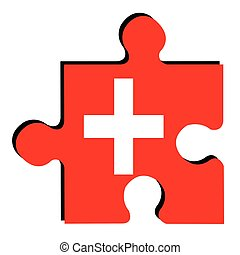 Isolated Swiss flag - Isolated piece of puzzle with the...