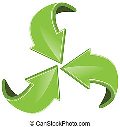 Green arrows - Illustration, four green arrows on white...