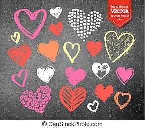 Valentine hearts on asphalt background - Vector color chalk...