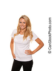 Young nice woman Cheerful, smiling Portrait on a white...
