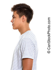 Profile view of young handsome man