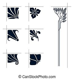 Vector art nouveau elements. - Vector art nouveau floral...