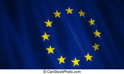 Knitted European Union Flag. - Beautiful animation of...