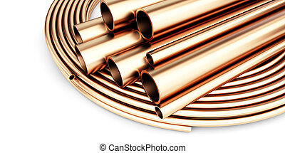 Set of copper pipes of different diameter . Isolated on White Background. 3D illustration