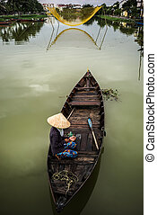 Vietnamese boats in Hoi An - Typical boats in Hoi An, Unesco...