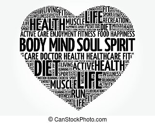 Body Mind Soul Spirit heart word cloud