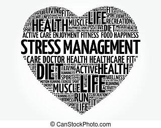Stress Management heart word cloud, fitness, sport, health...