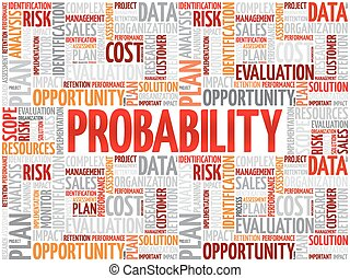 Probability word cloud collage, business concept background
